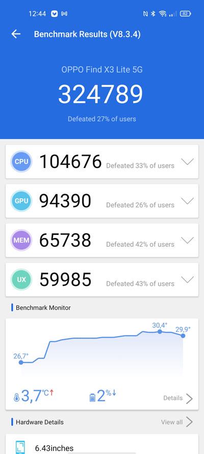 OPPO Find X3 Lite benchmark antutu
