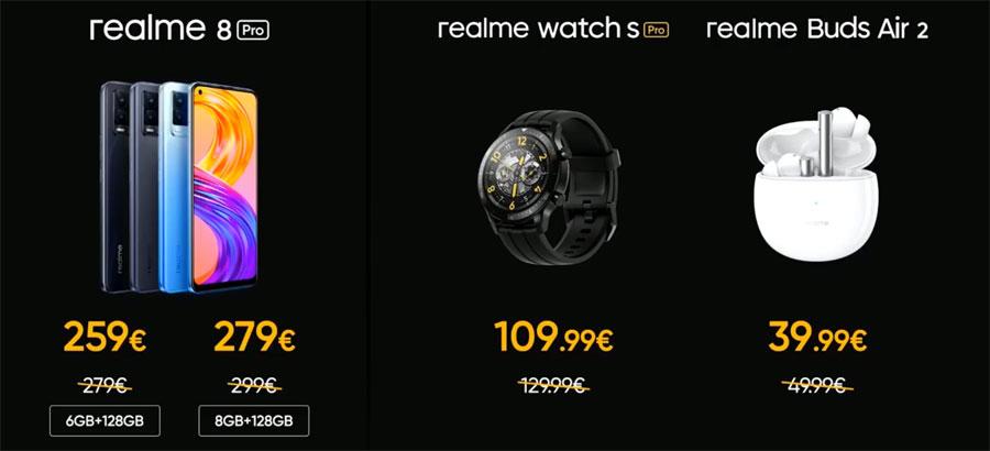 prezzi realme 8 pro, buds air 2 e watch s pro