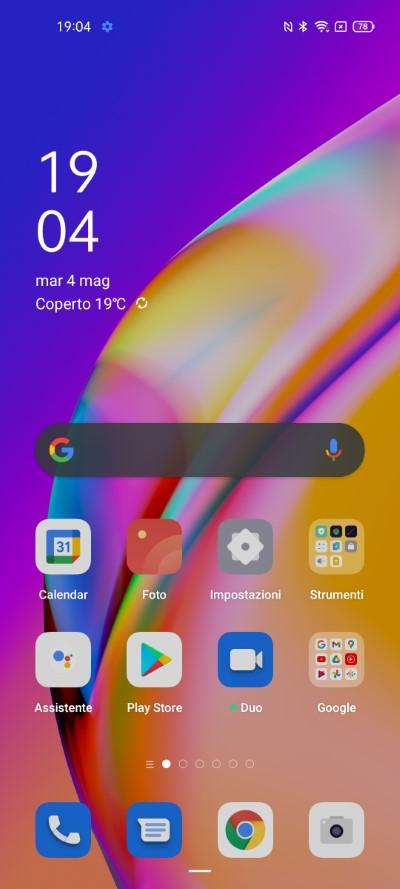 OPPO A94 5G schermata Home